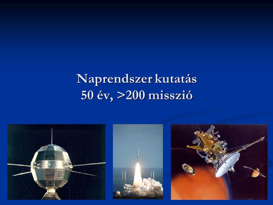 Naprendszer kutatás 50 év, >200 misszió