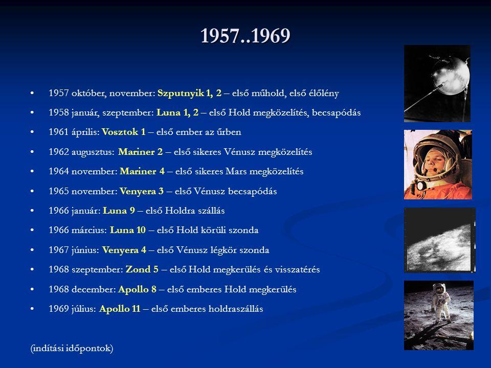 1957..1969 1957 október, november: Szputnyik 1, 2 – első műhold, első élőlény.