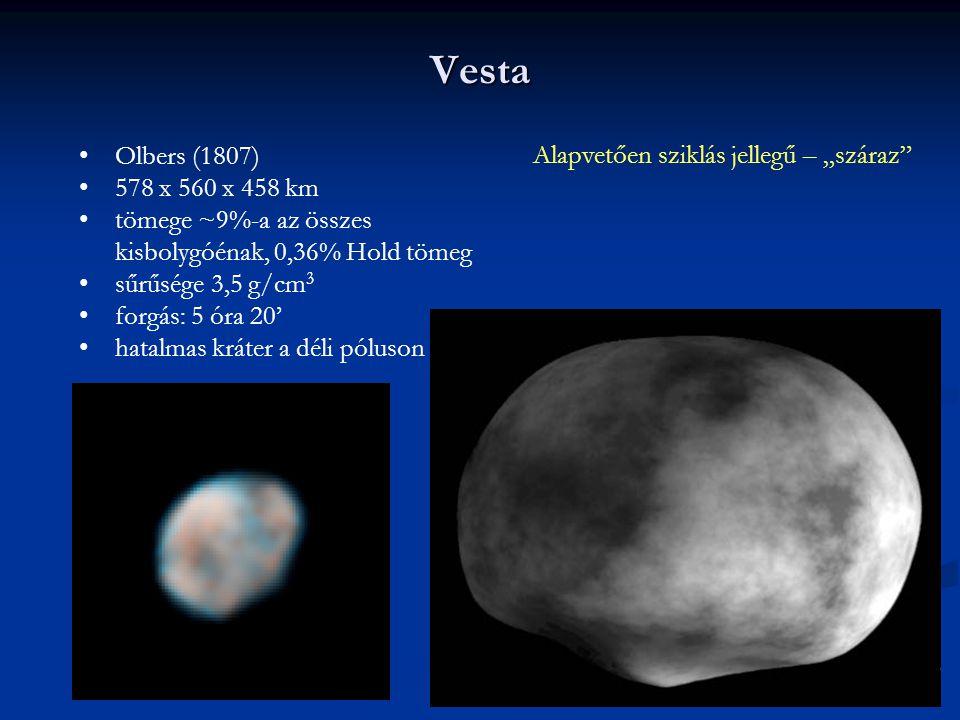 """Vesta Olbers (1807) Alapvetően sziklás jellegű – """"száraz"""