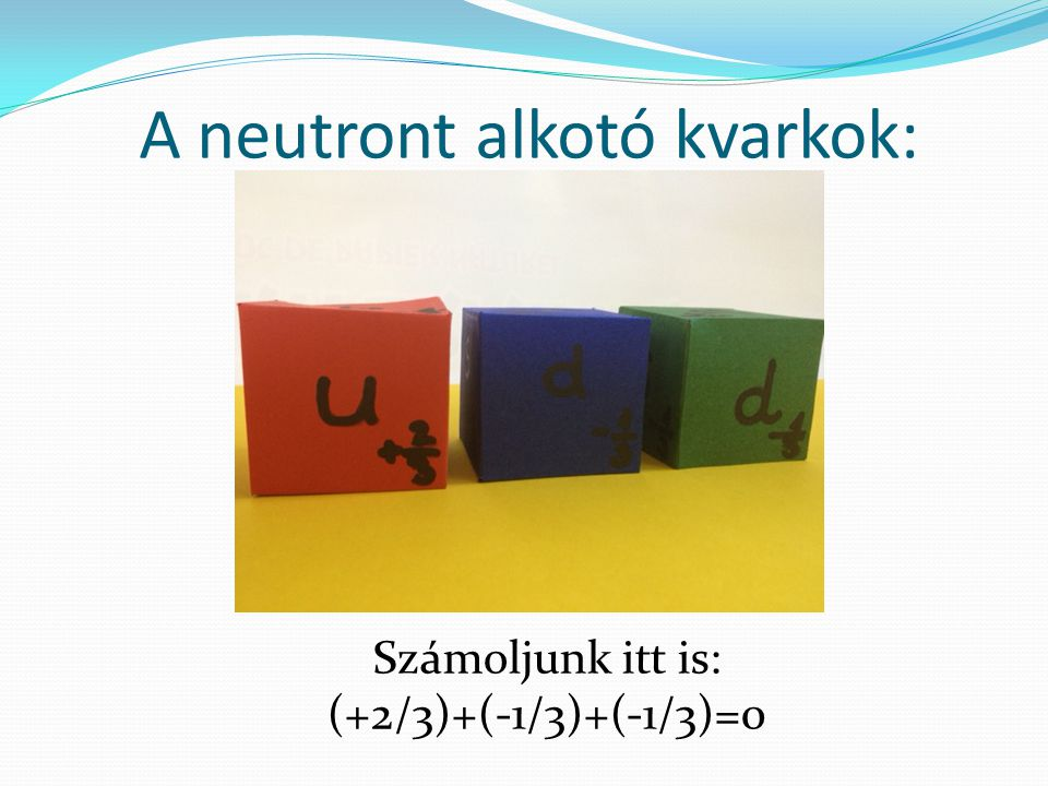 A neutront alkotó kvarkok: