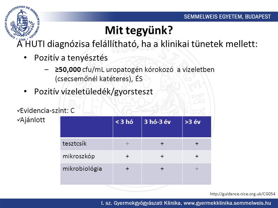 Mit tegyünk A HUTI diagnózisa felállítható, ha a klinikai tünetek mellett: Pozitív a tenyésztés.