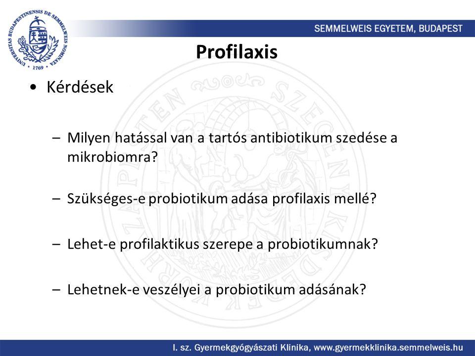 Profilaxis Kérdések. Milyen hatással van a tartós antibiotikum szedése a mikrobiomra Szükséges-e probiotikum adása profilaxis mellé