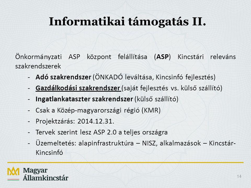 Informatikai támogatás II.