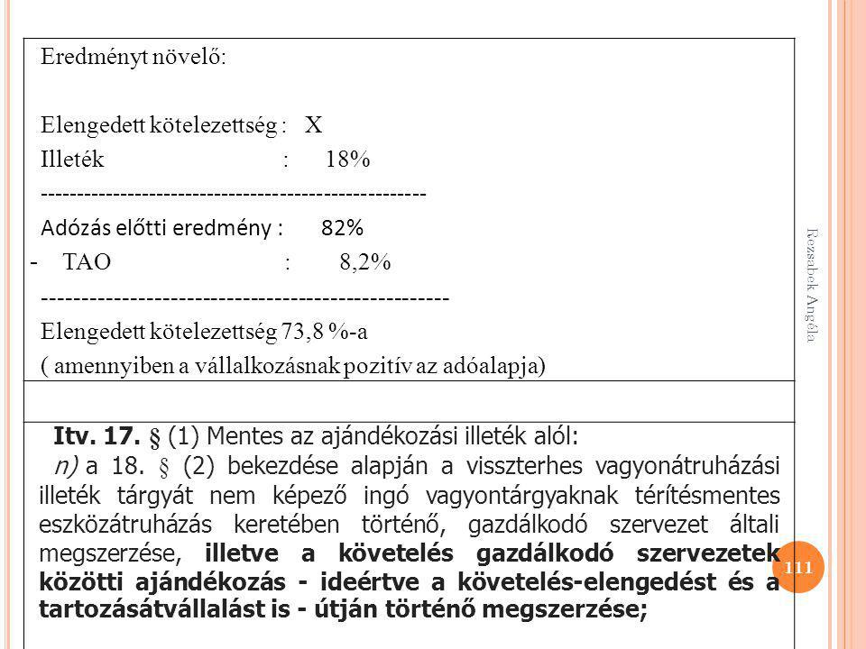 Elengedett kötelezettség : X Illeték : 18%