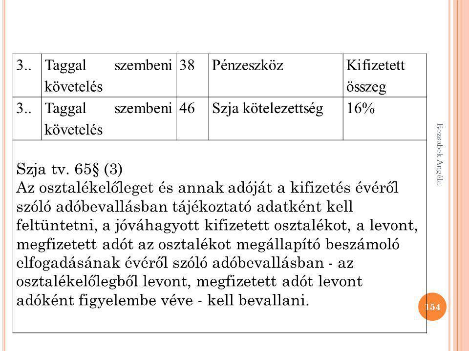 Taggal szembeni követelés 38 Pénzeszköz Kifizetett összeg 46