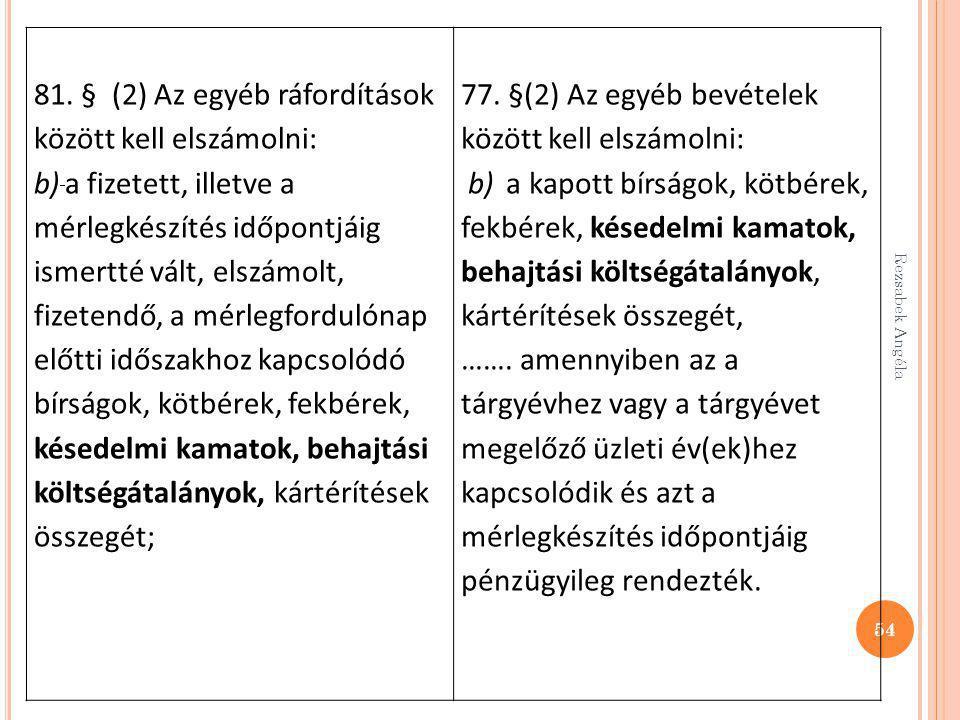 81. § (2) Az egyéb ráfordítások között kell elszámolni: