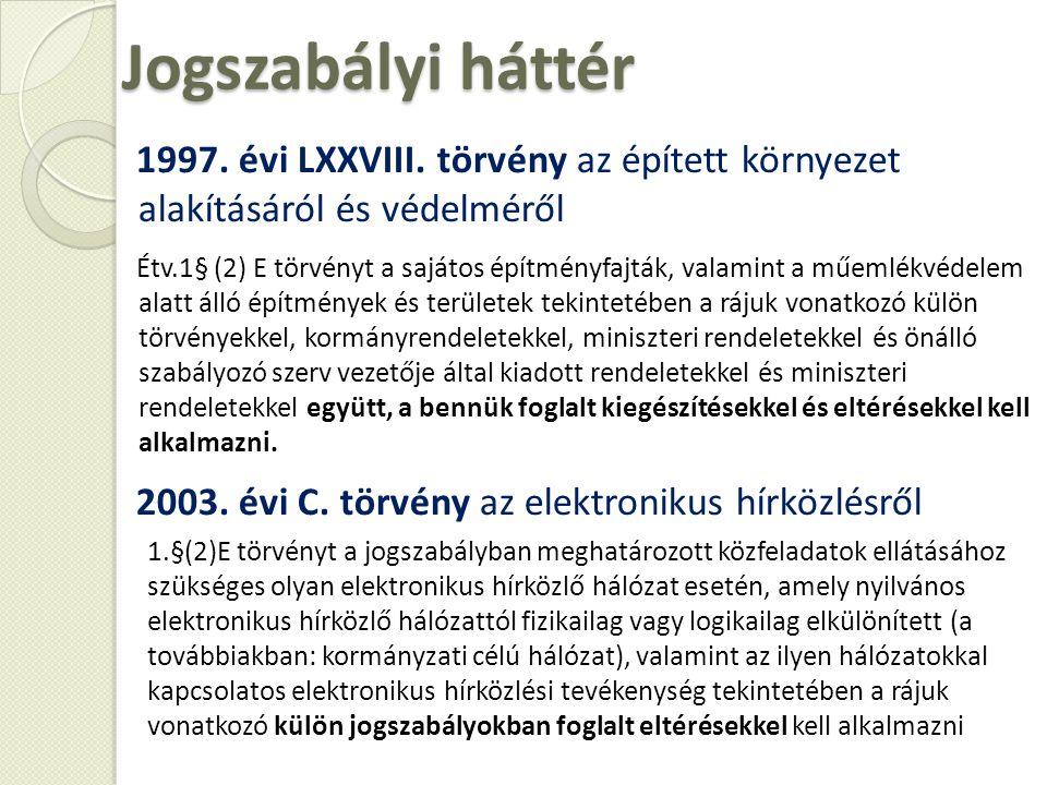 Jogszabályi háttér 1997. évi LXXVIII. törvény az épített környezet alakításáról és védelméről.