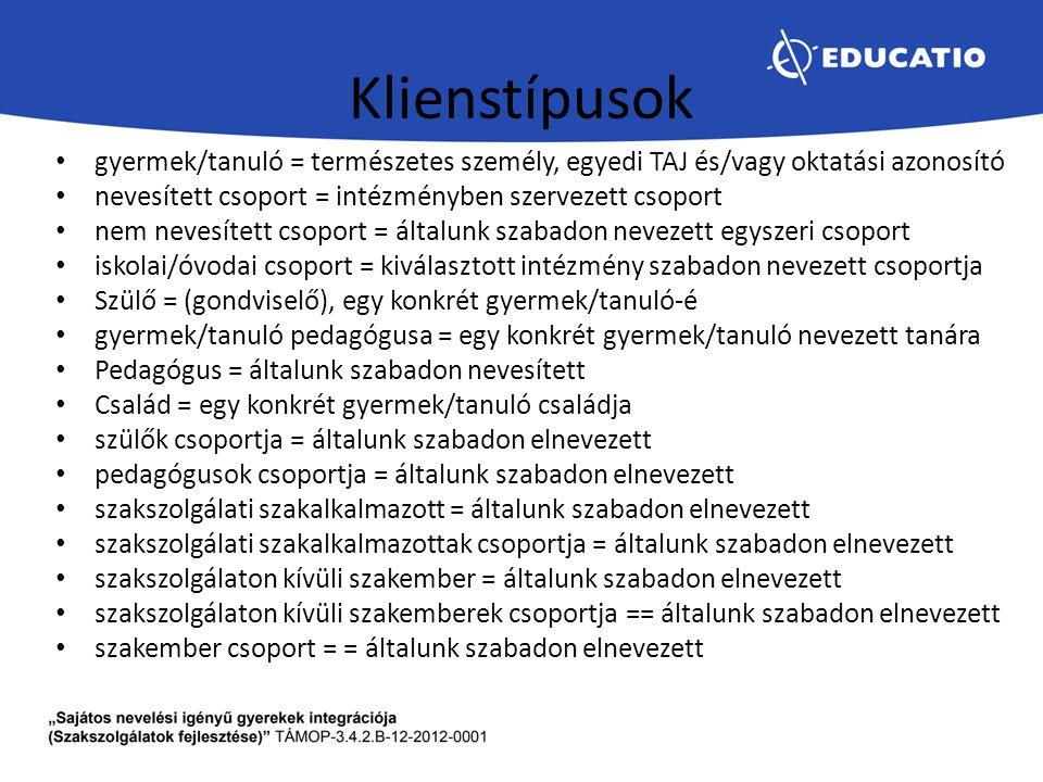Klienstípusok gyermek/tanuló = természetes személy, egyedi TAJ és/vagy oktatási azonosító. nevesített csoport = intézményben szervezett csoport.