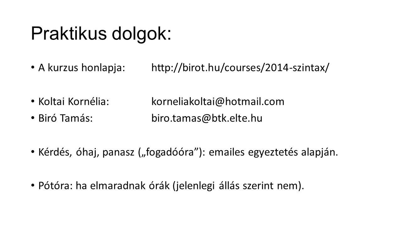Praktikus dolgok: A kurzus honlapja: http://birot.hu/courses/2014-szintax/ Koltai Kornélia: korneliakoltai@hotmail.com.