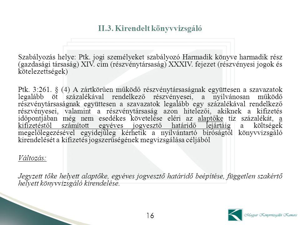 II.3. Kirendelt könyvvizsgáló