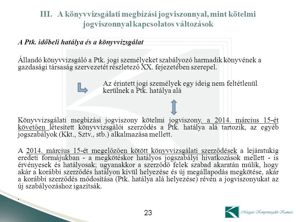 III. A könyvvizsgálati megbízási jogviszonnyal, mint kötelmi jogviszonnyal kapcsolatos változások
