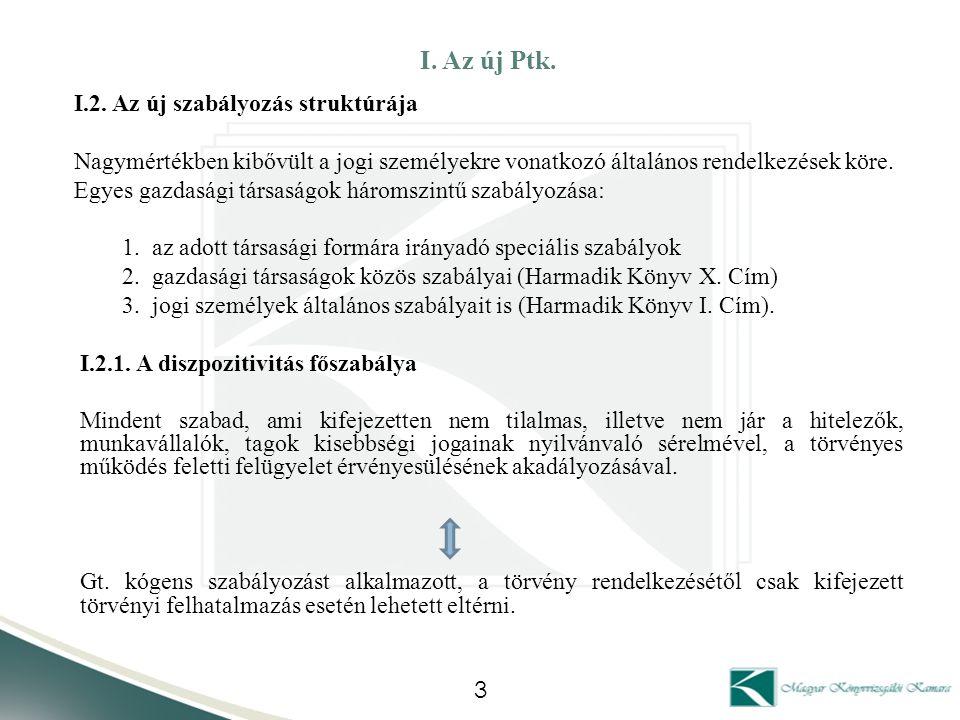 I. Az új Ptk. I.2. Az új szabályozás struktúrája
