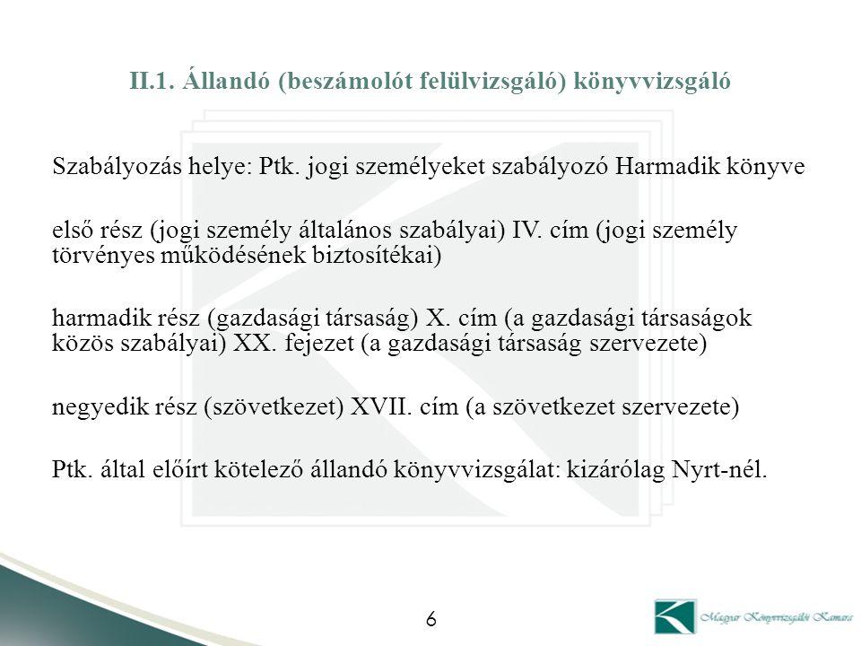 II.1. Állandó (beszámolót felülvizsgáló) könyvvizsgáló