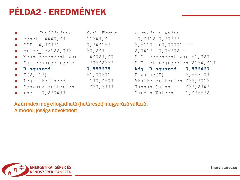 Példa2 - Eredmények Coefficient Std. Error t-ratio p-value. const -4440,38 11648,3 -0,3812 0,70777.