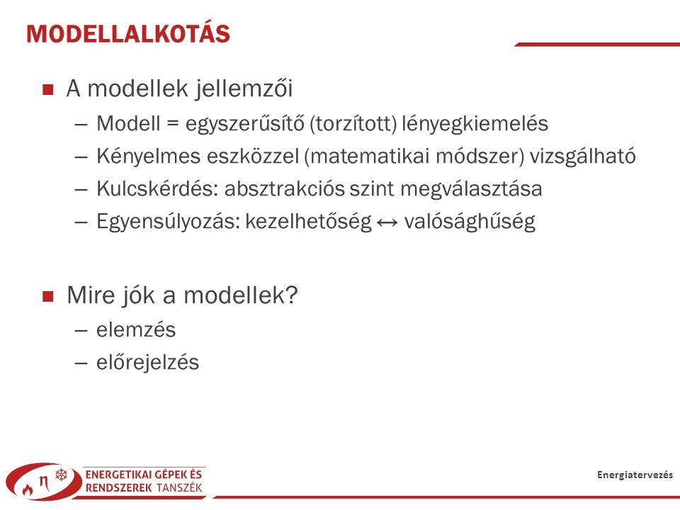 Modellalkotás A modellek jellemzői Mire jók a modellek