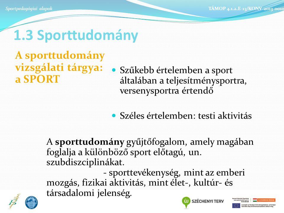 1.3 Sporttudomány A sporttudomány vizsgálati tárgya: a SPORT