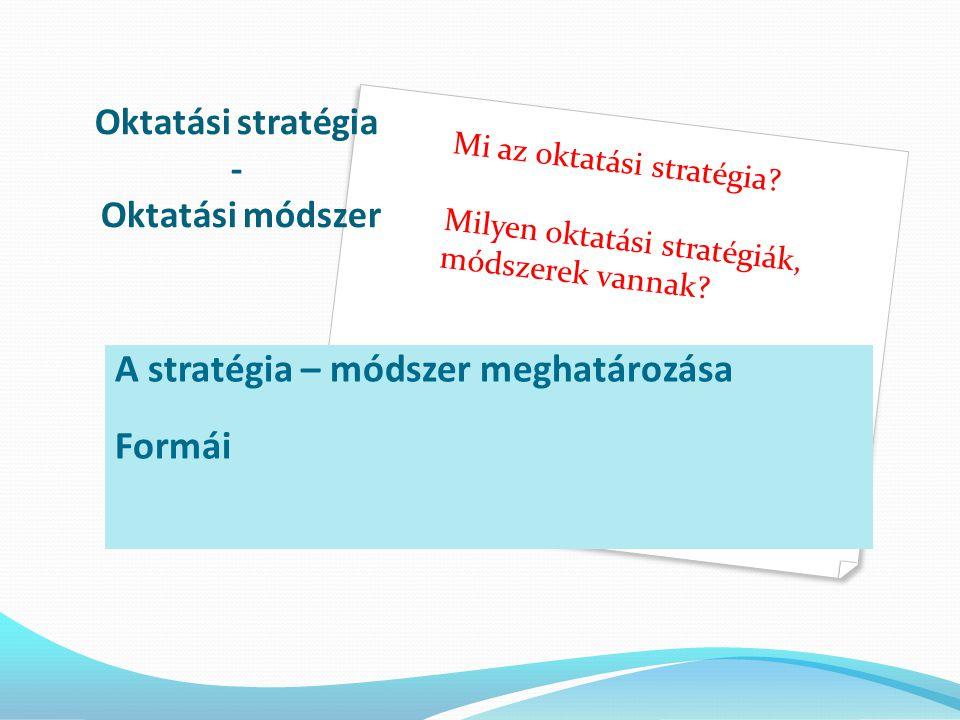 Oktatási stratégia - Oktatási módszer