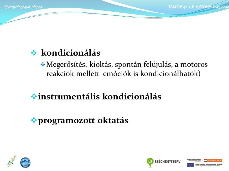 instrumentális kondicionálás programozott oktatás