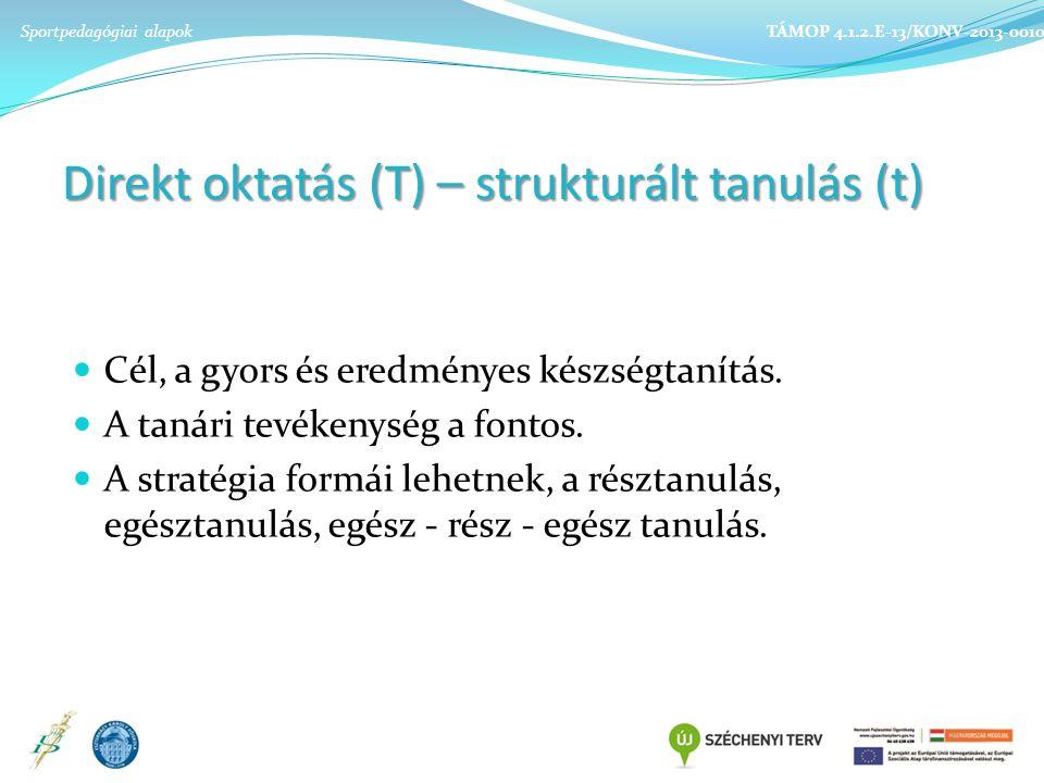 Direkt oktatás (T) – strukturált tanulás (t)