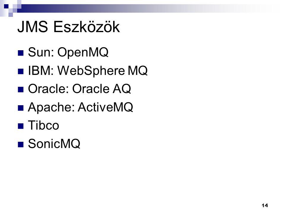 JMS Eszközök Sun: OpenMQ IBM: WebSphere MQ Oracle: Oracle AQ