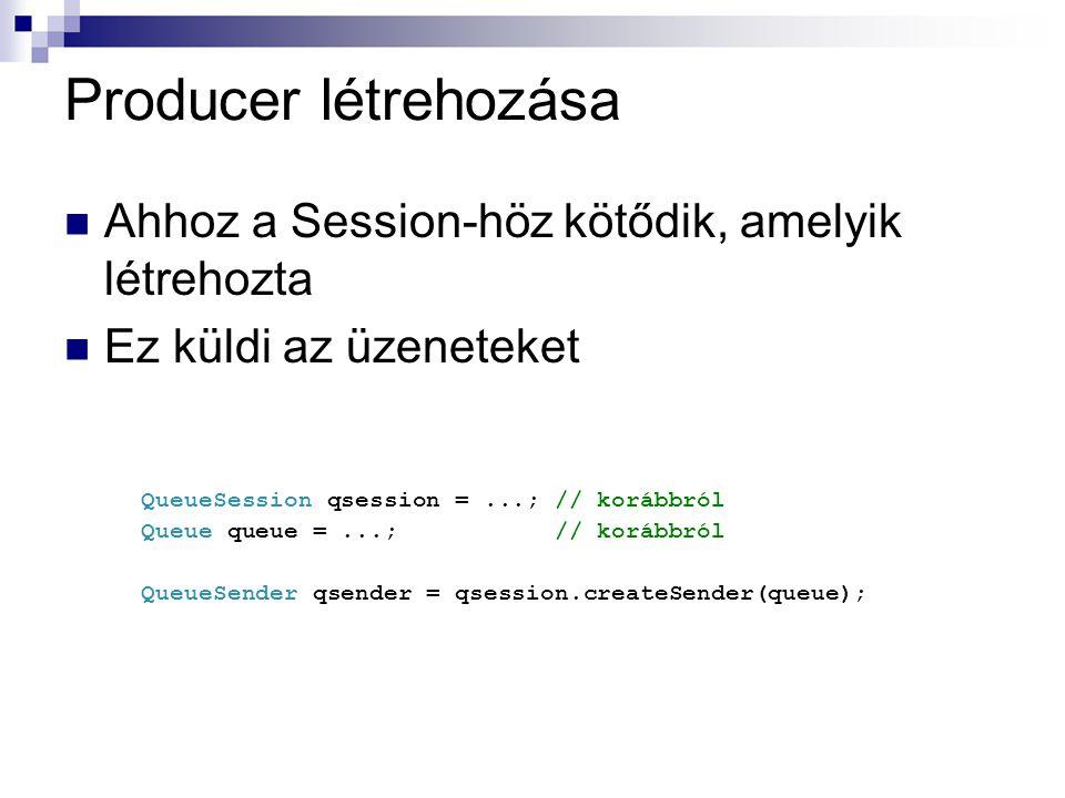Producer létrehozása Ahhoz a Session-höz kötődik, amelyik létrehozta