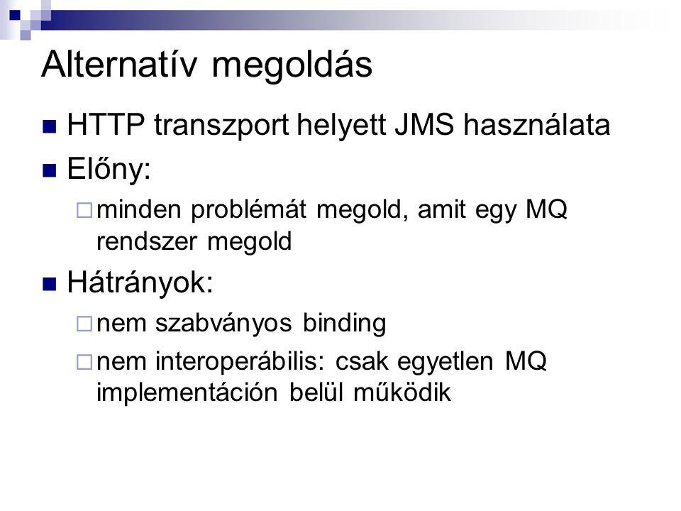 Alternatív megoldás HTTP transzport helyett JMS használata Előny: