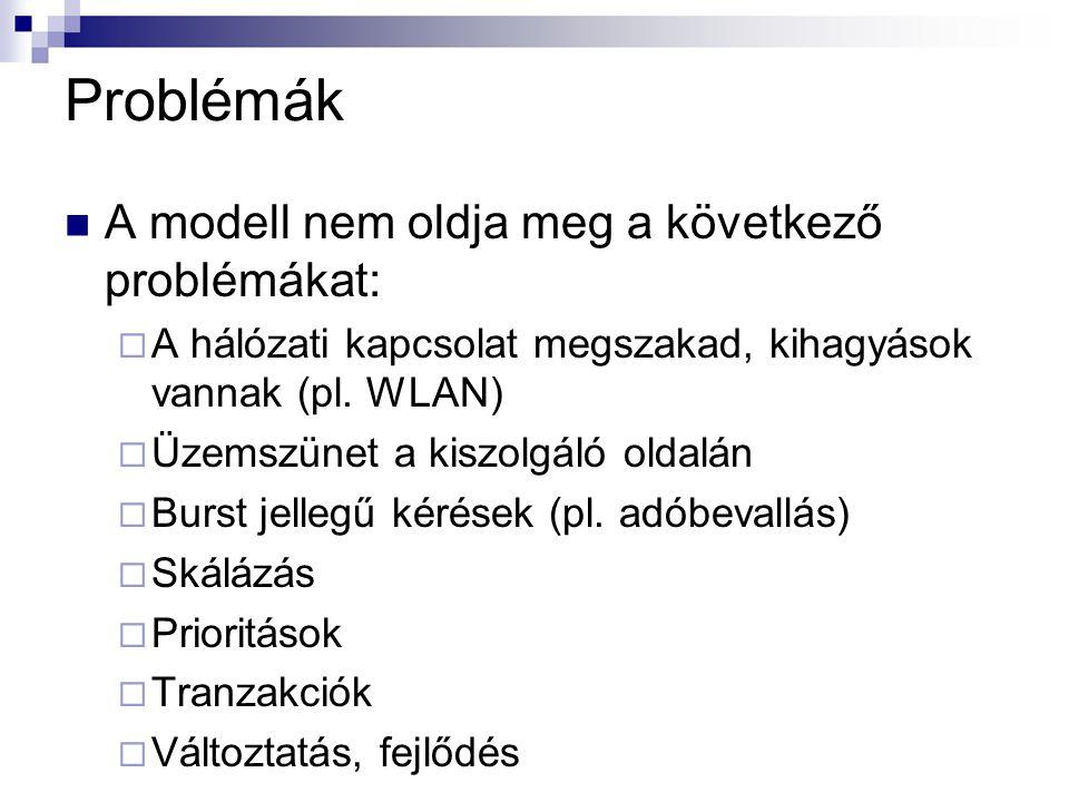 Problémák A modell nem oldja meg a következő problémákat: