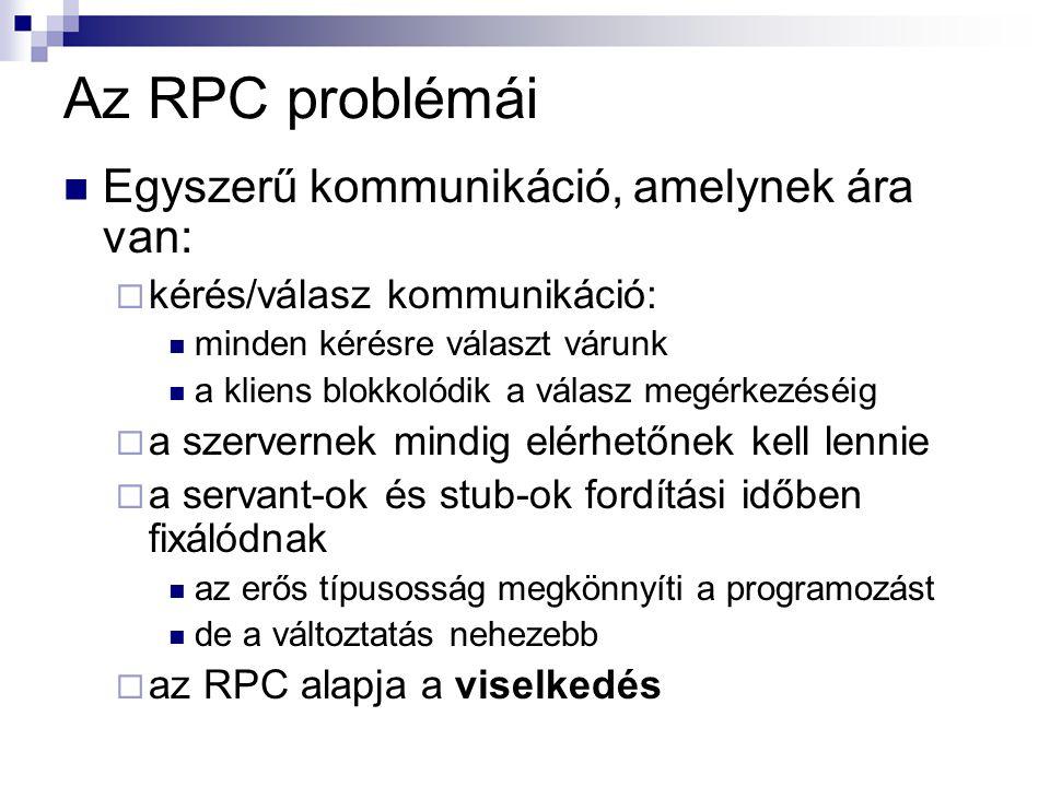 Az RPC problémái Egyszerű kommunikáció, amelynek ára van: