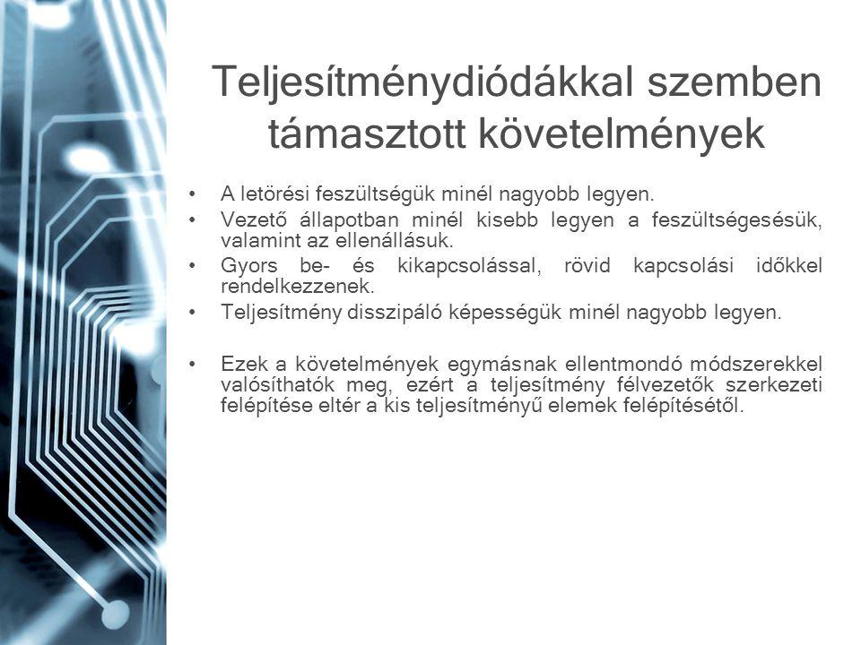Teljesítménydiódákkal szemben támasztott követelmények