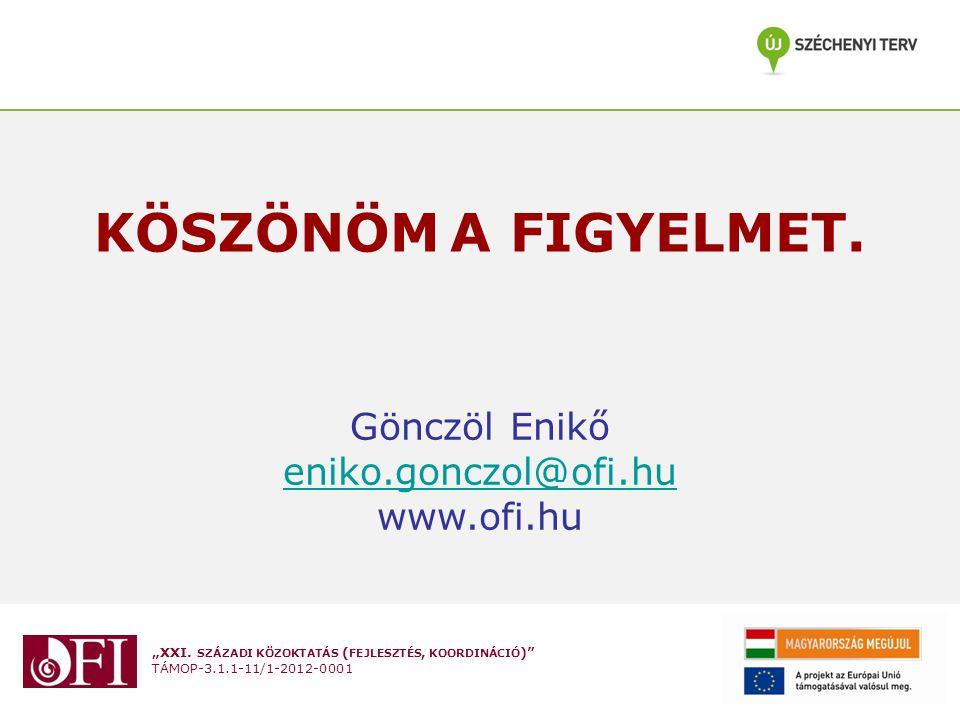 KÖSZÖNÖM A FIGYELMET. Gönczöl Enikő eniko.gonczol@ofi.hu www.ofi.hu