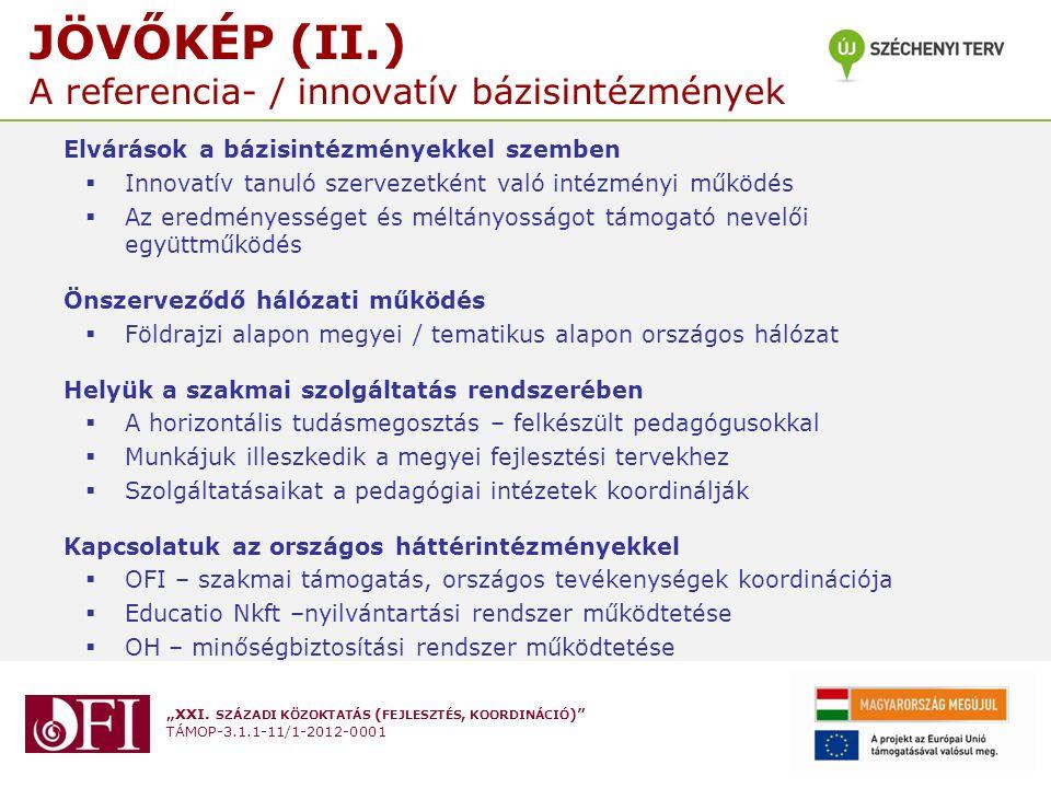 JÖVŐKÉP (II.) A referencia- / innovatív bázisintézmények