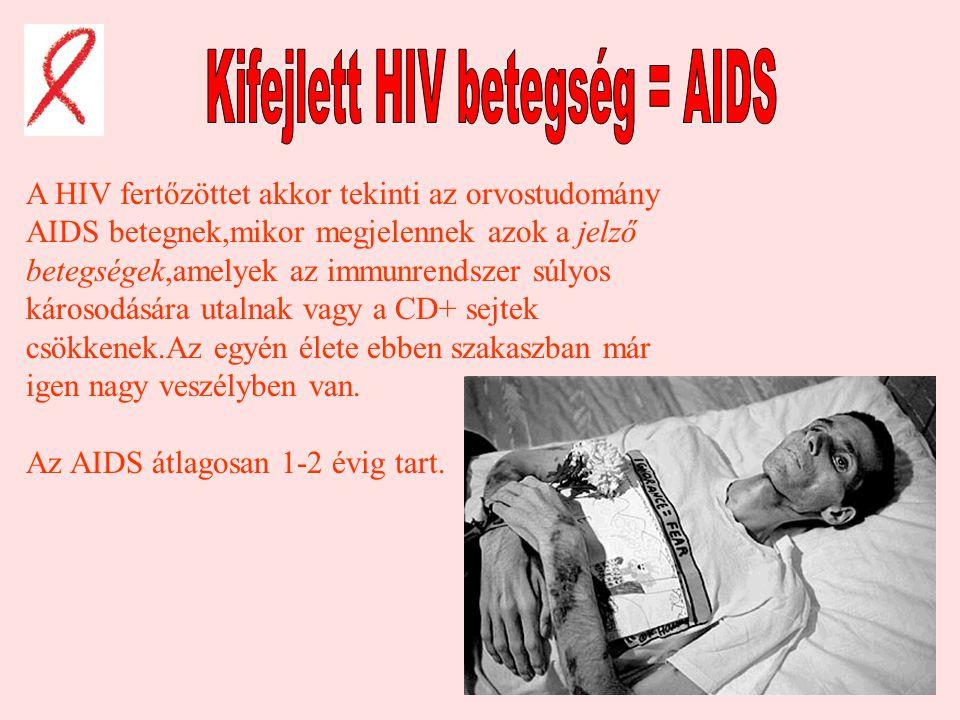 Kifejlett HIV betegség = AIDS