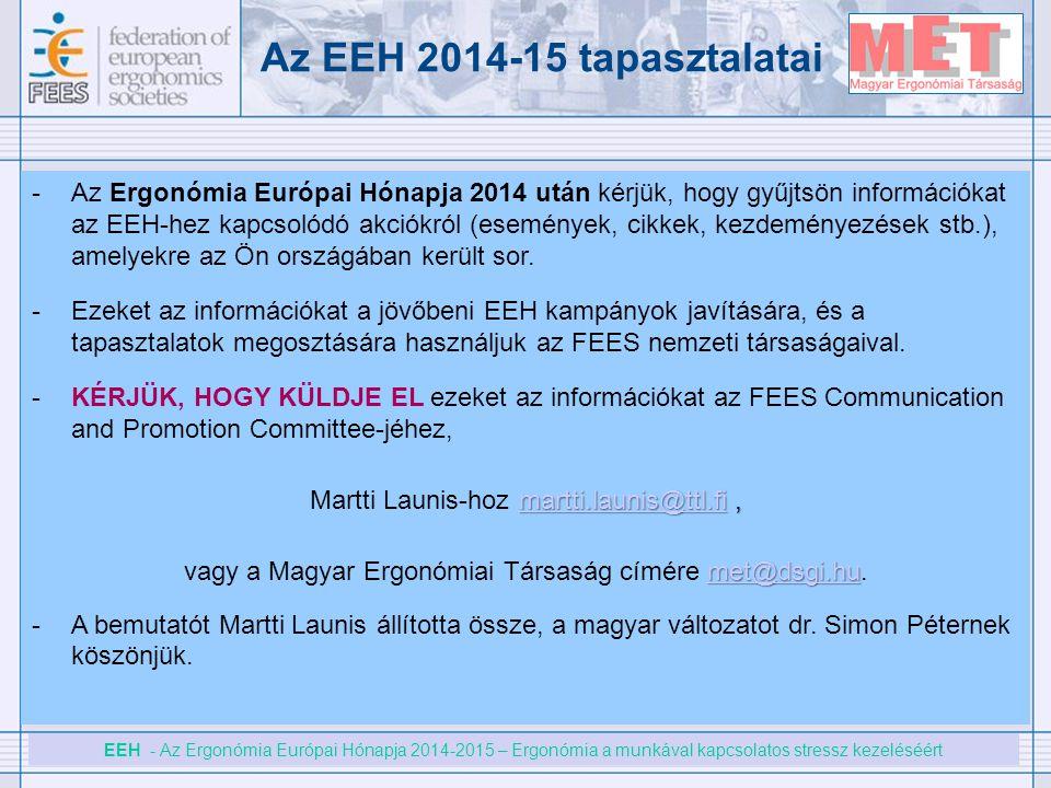 Az EEH 2014-15 tapasztalatai
