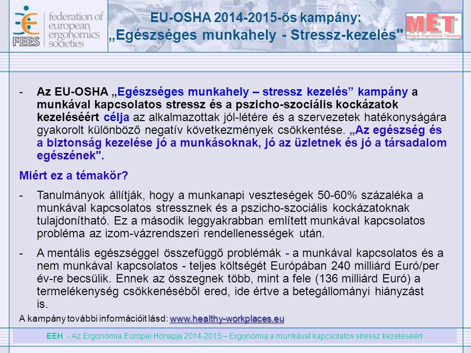 """EU-OSHA 2014-2015-ös kampány: """"Egészséges munkahely - Stressz-kezelés"""