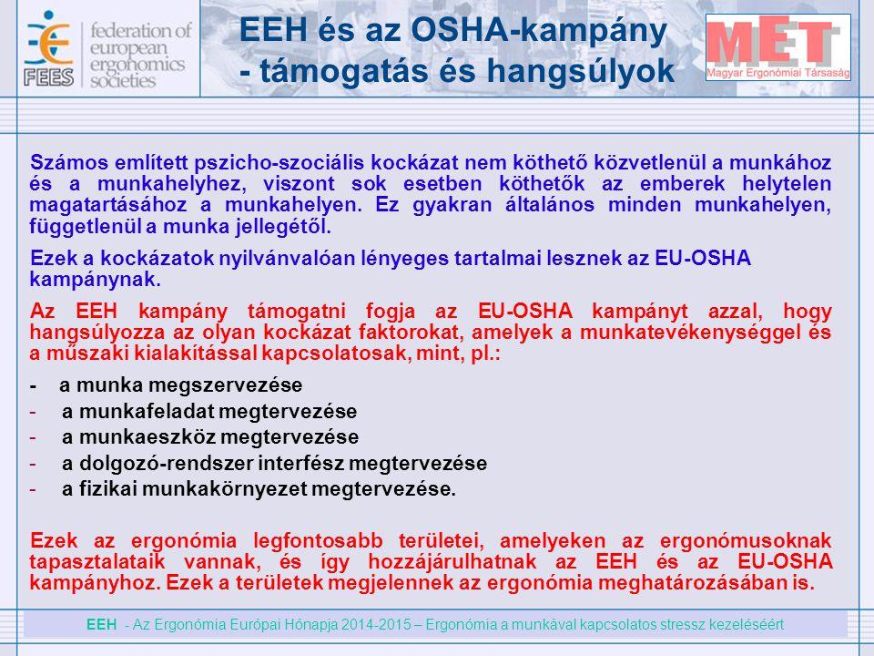 EEH és az OSHA-kampány - támogatás és hangsúlyok
