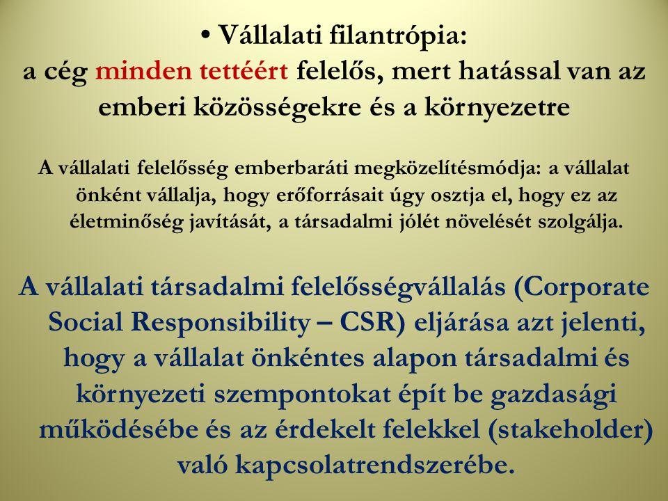 • Vállalati filantrópia: a cég minden tettéért felelős, mert hatással van az emberi közösségekre és a környezetre