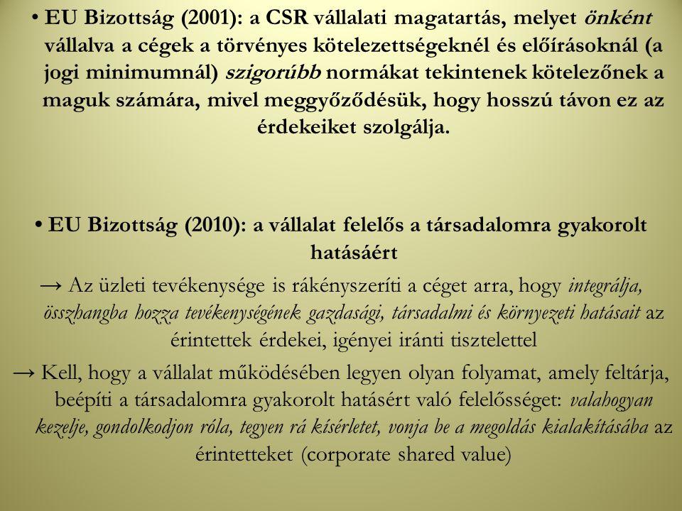 • EU Bizottság (2001): a CSR vállalati magatartás, melyet önként vállalva a cégek a törvényes kötelezettségeknél és előírásoknál (a jogi minimumnál) szigorúbb normákat tekintenek kötelezőnek a maguk számára, mivel meggyőződésük, hogy hosszú távon ez az érdekeiket szolgálja.