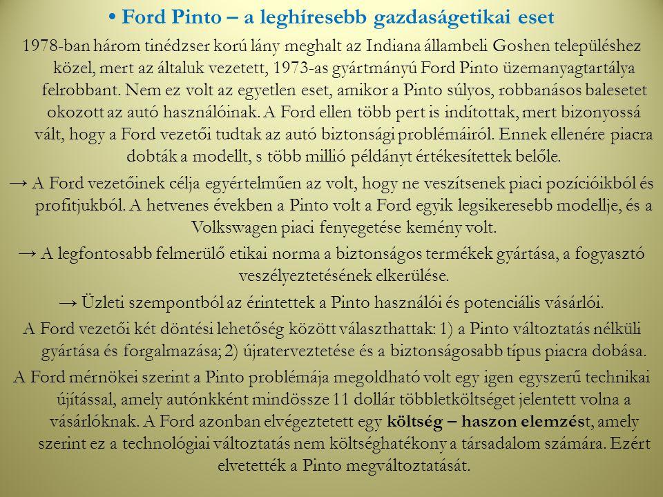 • Ford Pinto – a leghíresebb gazdaságetikai eset