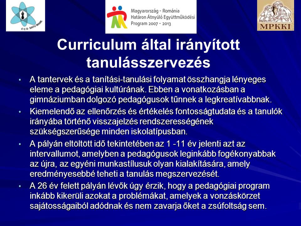 Curriculum által irányított tanulásszervezés