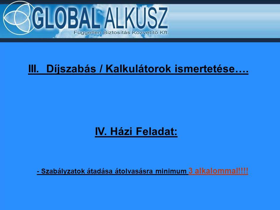 III. Díjszabás / Kalkulátorok ismertetése….