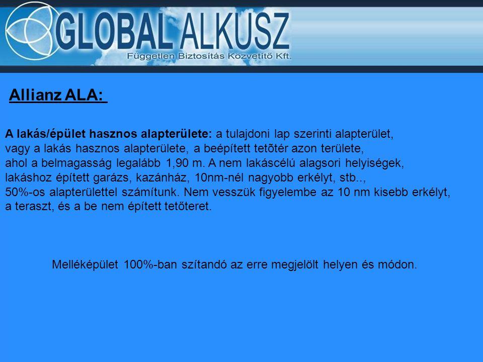 Allianz ALA: A lakás/épület hasznos alapterülete: a tulajdoni lap szerinti alapterület,