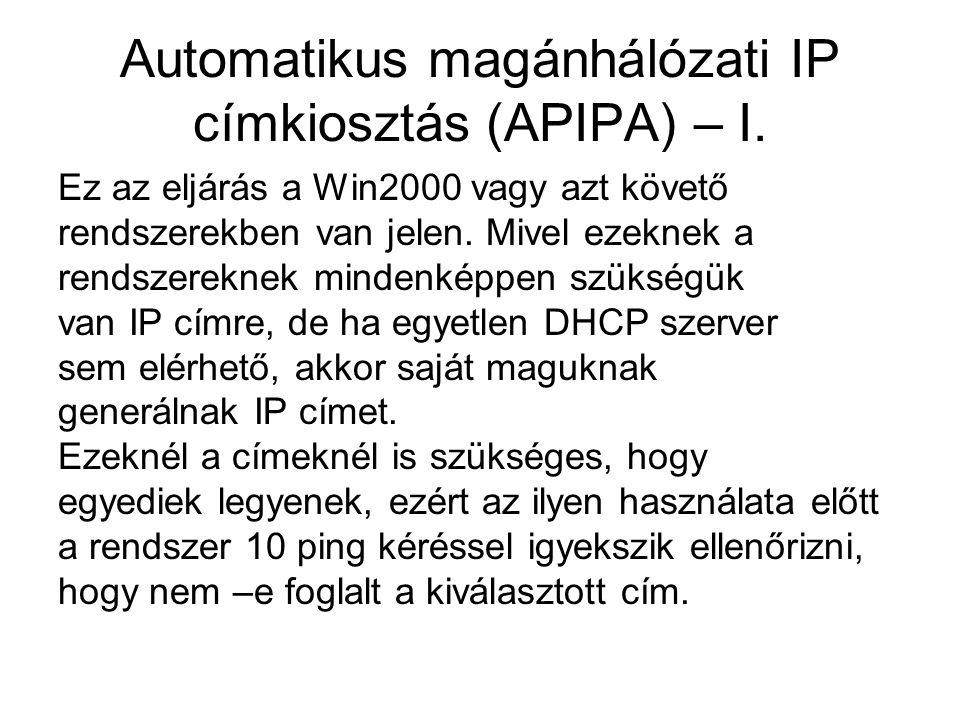 Automatikus magánhálózati IP címkiosztás (APIPA) – I.
