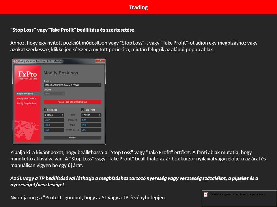 Trading Stop Loss vagy Take Profit beállítása és szerkesztése