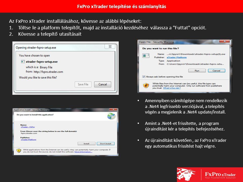 FxPro xTrader telepítése és számlanyitás