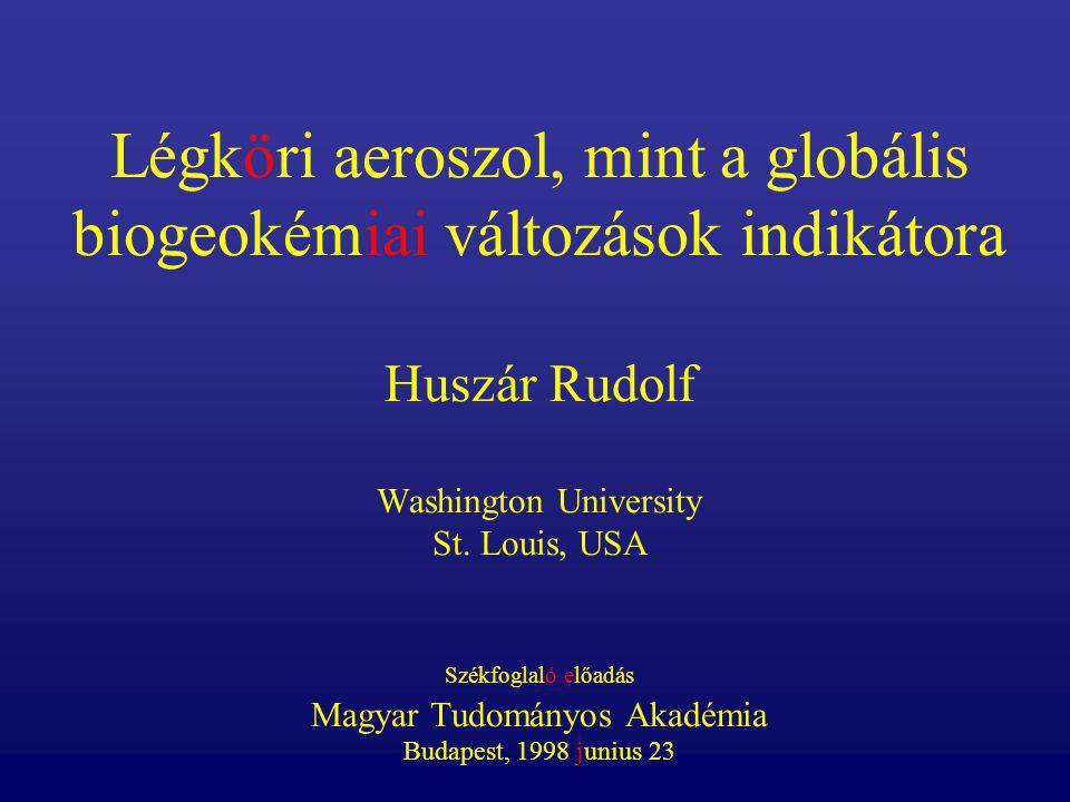 Légköri aeroszol, mint a globális biogeokémiai változások indikátora Huszár Rudolf Washington University St.