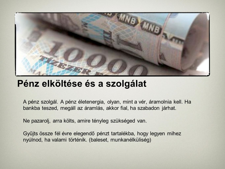 Pénz elköltése és a szolgálat