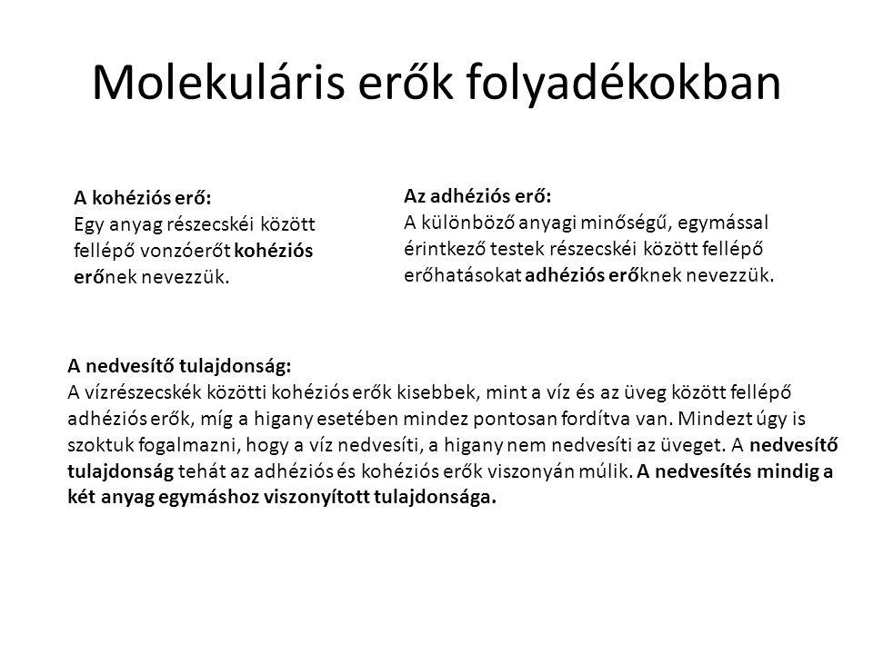 Molekuláris erők folyadékokban