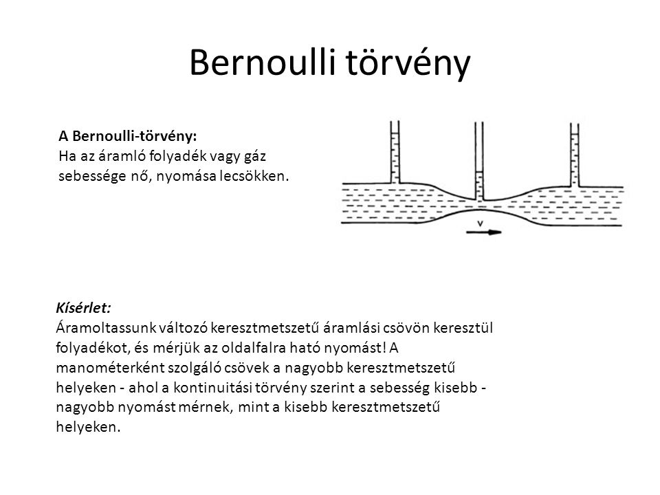 Bernoulli törvény A Bernoulli-törvény: