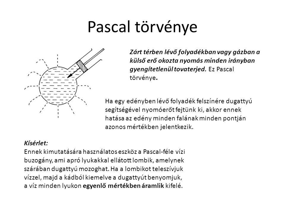 Pascal törvénye Zárt térben lévő folyadékban vagy gázban a külső erő okozta nyomás minden irányban gyengítetlenül tovaterjed. Ez Pascal törvénye.