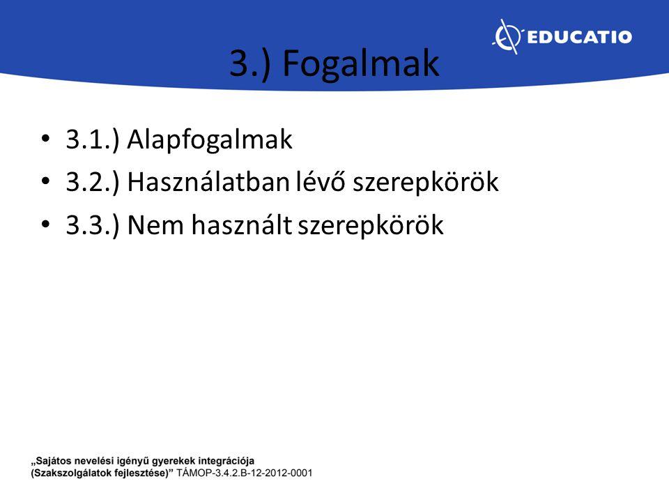 3.) Fogalmak 3.1.) Alapfogalmak 3.2.) Használatban lévő szerepkörök